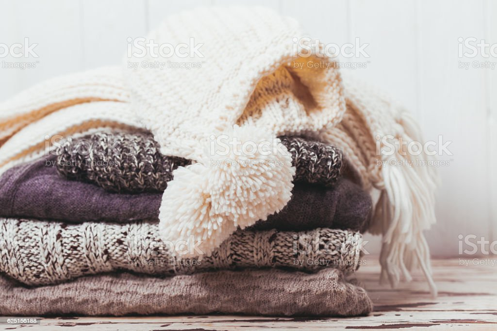Collection of woolen clothes stock photo