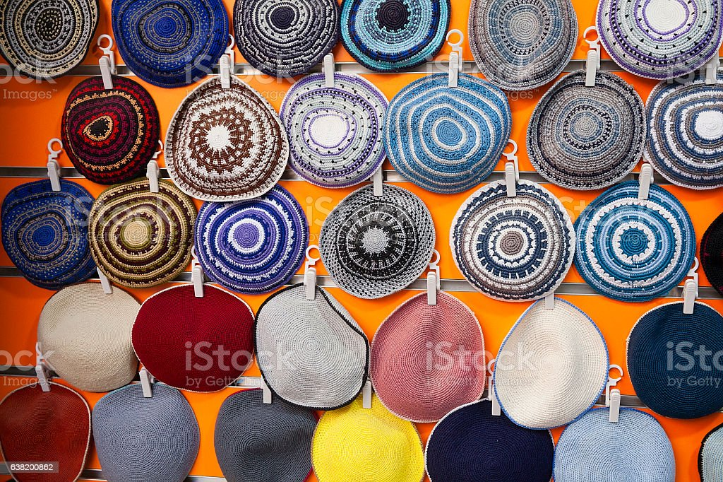 Collection of Yarmulka- Kippah stock photo