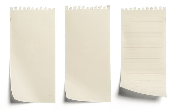 collection of yellow note papers on white background stock photo
