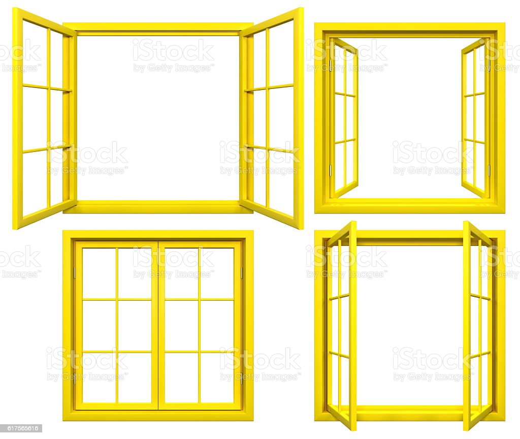 Collection Of Yellow Window Frames Isolated On White Stock Photo ...