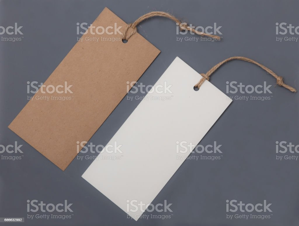 Collection paper price tags for sale stock photo