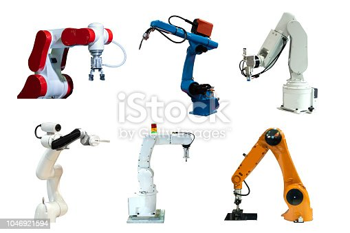 istock Collection Robot mechanical arm and camera in the future, work instead of man white background 1046921594