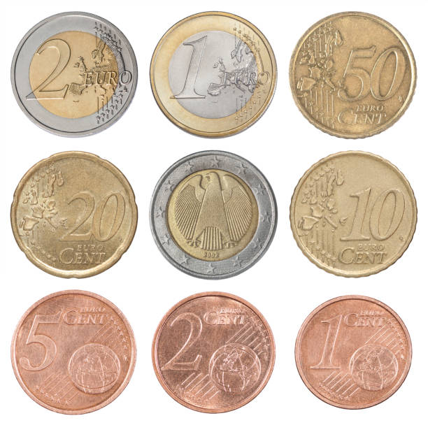 Collection set euro Collection set of euro coins isolated on white background european union coin stock pictures, royalty-free photos & images