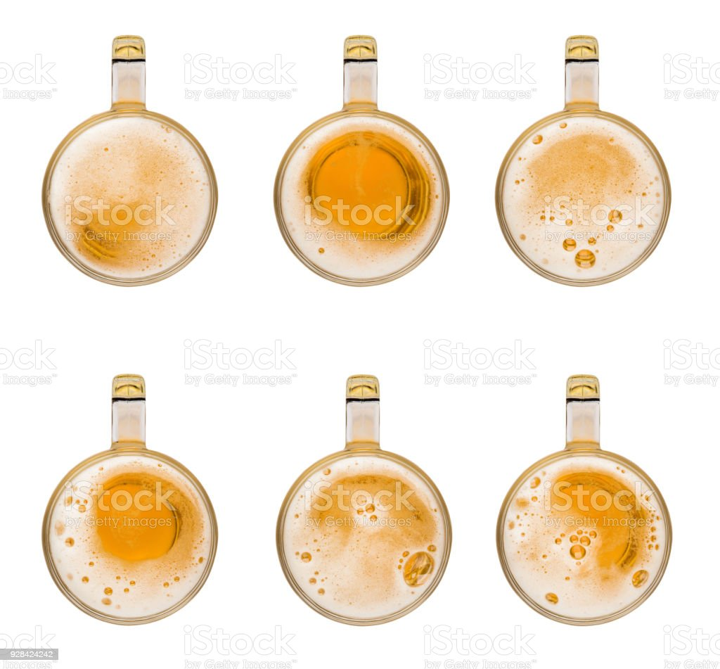 Collection set mug of beer with bubble on glass isolated on white background celebration object design top view stock photo
