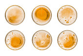 Collection set mug of beer with bubble on glass isolated on white background celebration object design top view