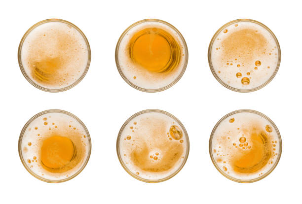 collection set mug of beer with bubble on glass isolated on white background celebration object design top view - szczyt zdjęcia i obrazy z banku zdjęć
