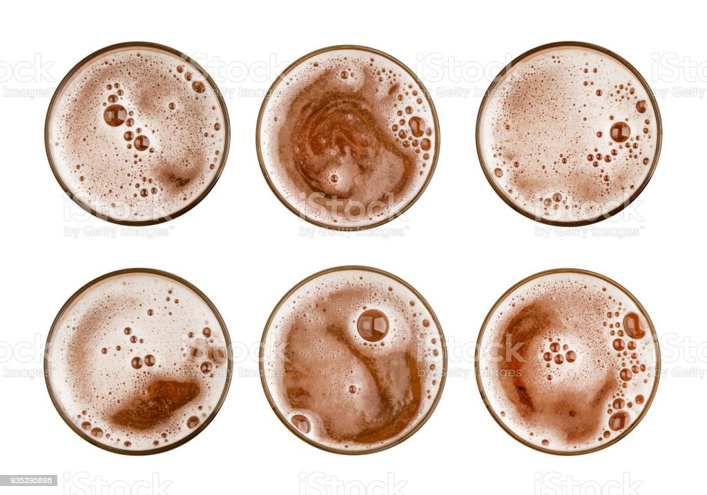 Collection set of beer in glass or mug and froth bubble foam on above top view isolated on white background food and drink object design stock photo