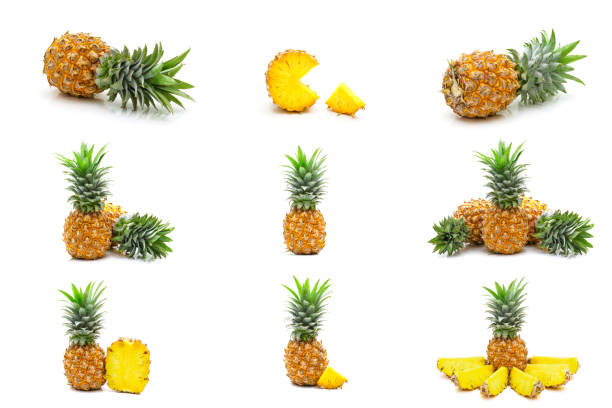 collection set of pineapples fruit slices isolated on white background - icon set healthy foto e immagini stock