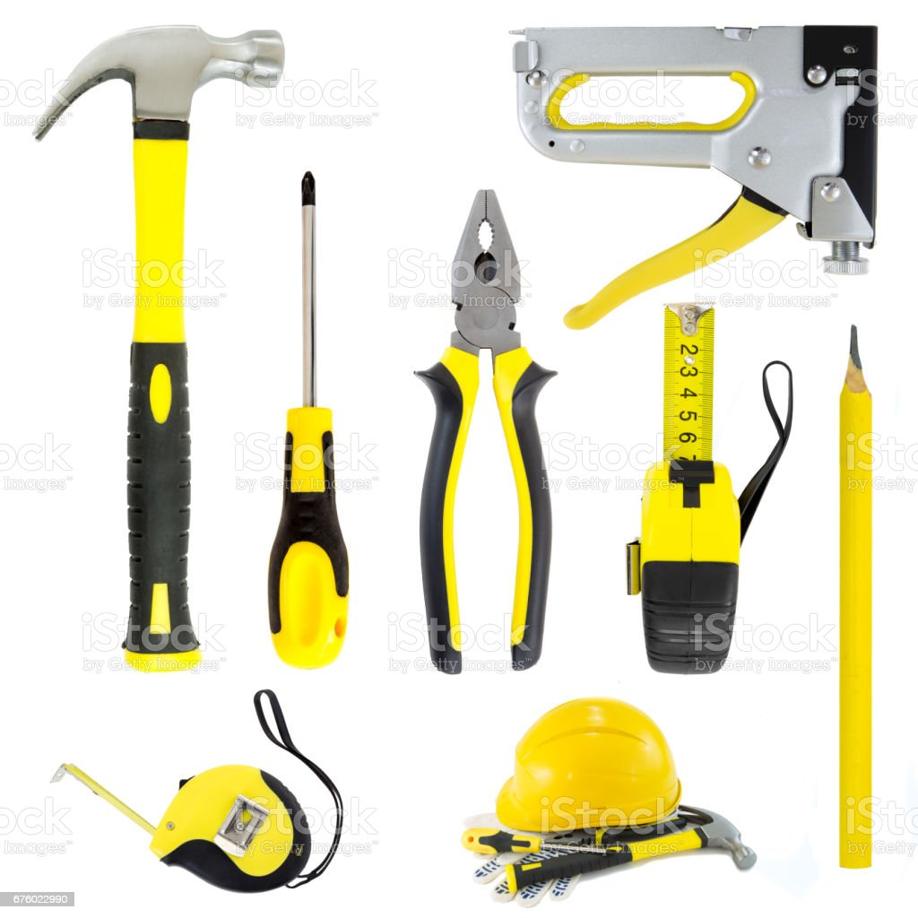 Collection set of yellow and black tools isolated stock photo