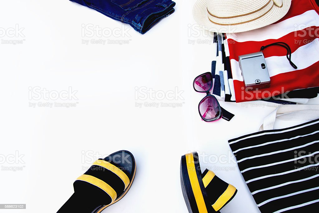 Collection summer a striped clothes style on top view. stock photo