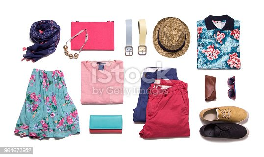 Colorful clothes layout isolated on white background