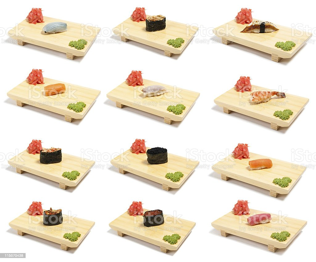 Collection sushi on wooden stand royalty-free stock photo