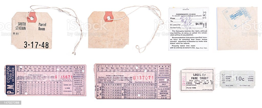 XXXL Collection Vintage Train Tickets and Luggage Tags Isolated Background stock photo