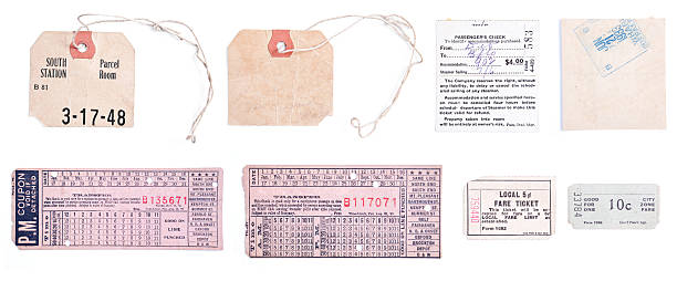 XXXL Collection Vintage Train Tickets and Luggage Tags Isolated Background Collection of 8 individual 5DII images related to train travel, including old luggage claim tags and train tickets.  Isolated on white background train ticket stock pictures, royalty-free photos & images