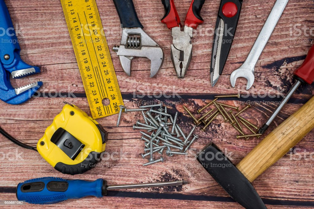 collection work tools on wooden desk. stock photo