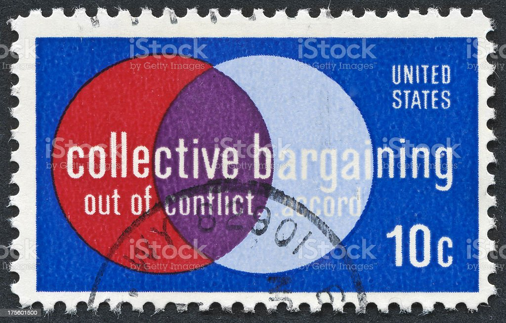 Collective Bargaining Stamp stock photo