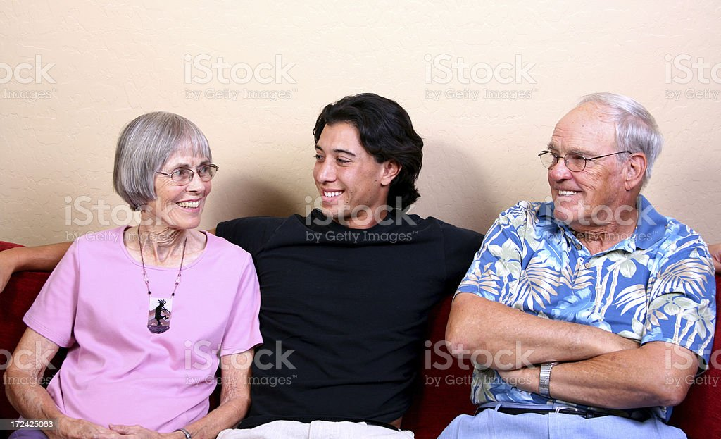 Colleg Student with Grandparents royalty-free stock photo