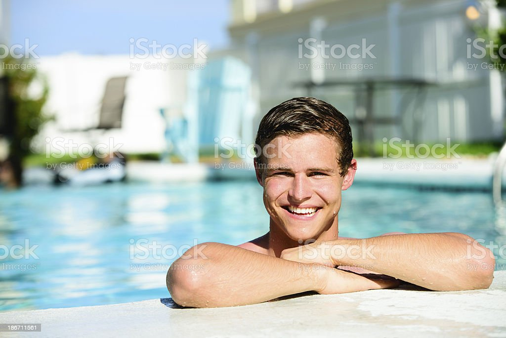 College Age Male In Pool royalty-free stock photo