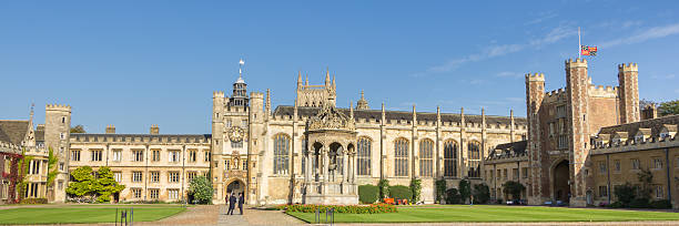 college building in cambridge, united kingdom - cambridge university stock photos and pictures