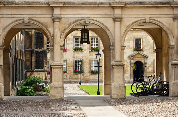 college campus in cambridge universitiy, uk - cambridge university stock photos and pictures