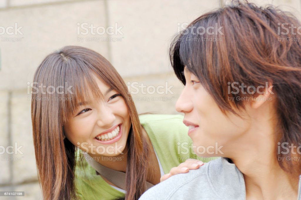 College couple Exchange glances royalty-free stock photo