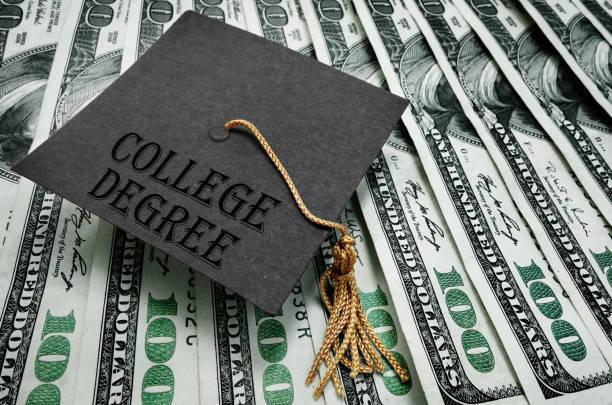 College Degree graduate money stock photo