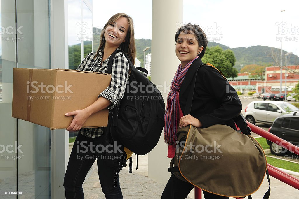 College dorm: Students moving in stock photo