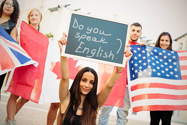 College European students learning English stock photo