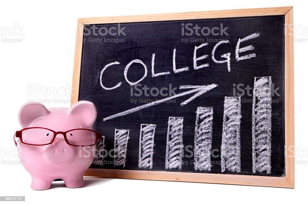 College fees or saving chart with piggy bank royalty-free stock photo