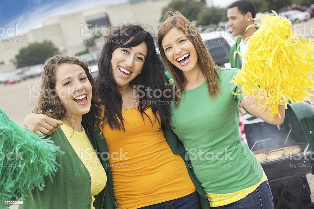 College girls tailgating at stadim for football game royalty-free stock photo