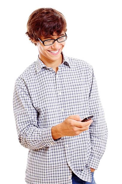 College Mann mit Handy in der hand – Foto