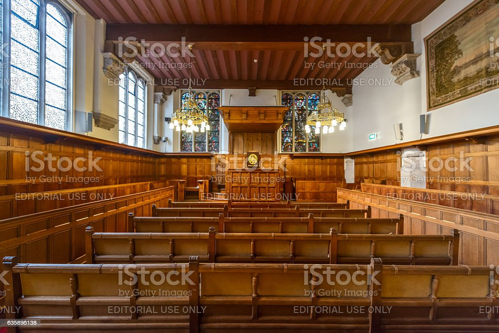 college Interior of the old university of Leiden stock photo