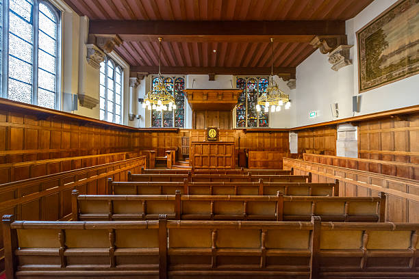 college Interior of the old university of Leiden Leiden, the Netherlands - October 23, 2015: This is the oldest university of the Netherlands, founded in 1575. On the photo the oldest, public lecture hall, the old convent of the university of Leiden. The Netherlands leiden stock pictures, royalty-free photos & images