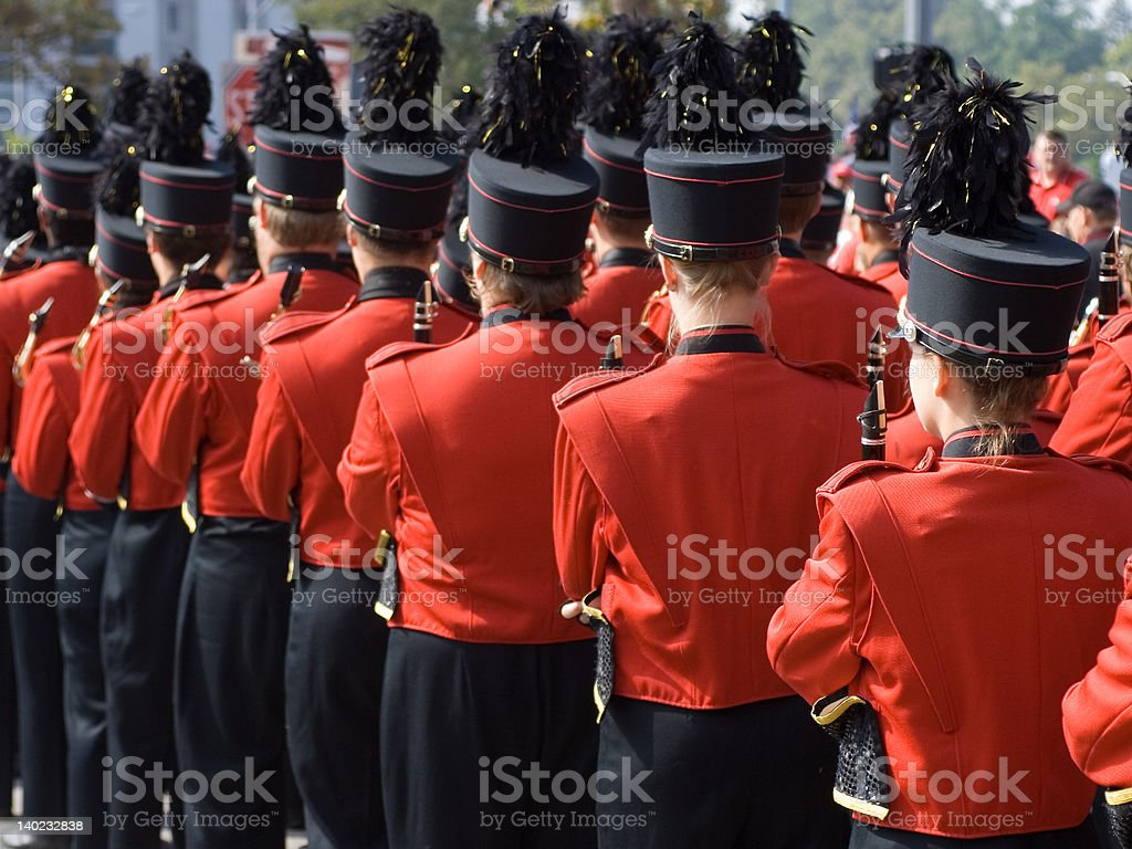 College marching band in formation stock photo