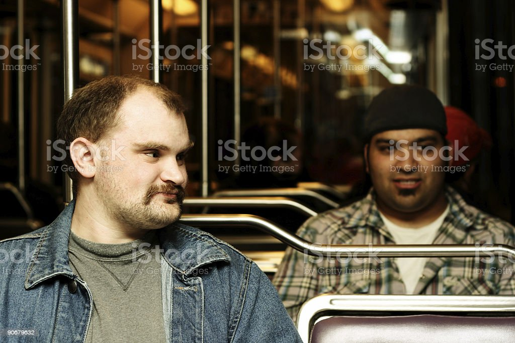 College Men Riding The Bus royalty-free stock photo