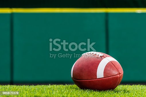 A low angle view, of a textured College or High School American Football made of leather with white stripe sitting on artificial turf of a stadium with green padded wall in the background. This type of football with the white stripes is use by colleges and high schools in the US.
