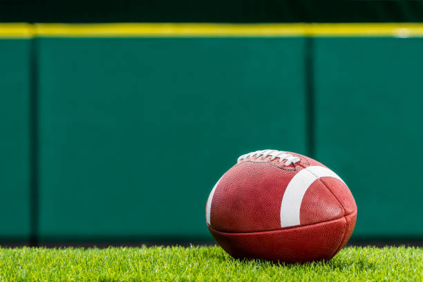 College or high school American Football sitting on the turf of a stadium. A low angle view, of a textured College or High School American Football made of leather with white stripe sitting on artificial turf of a stadium with green padded wall in the background. This type of football with the white stripes is use by colleges and high schools in the US. ncaa college football stock pictures, royalty-free photos & images