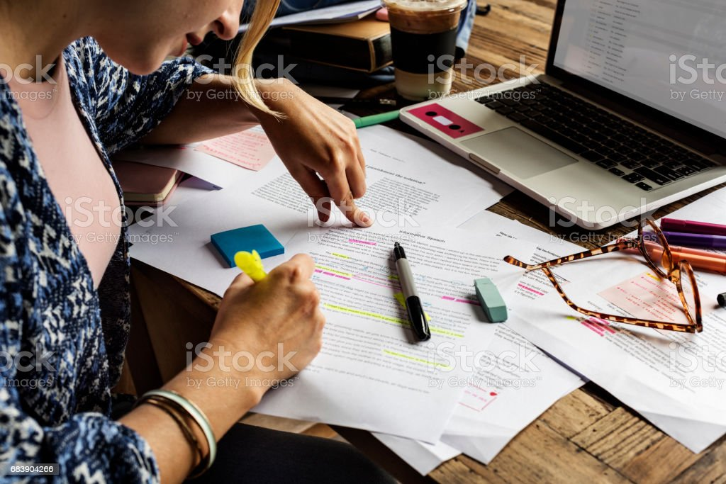 College People Study Learning Reading Lecture Notes stock photo