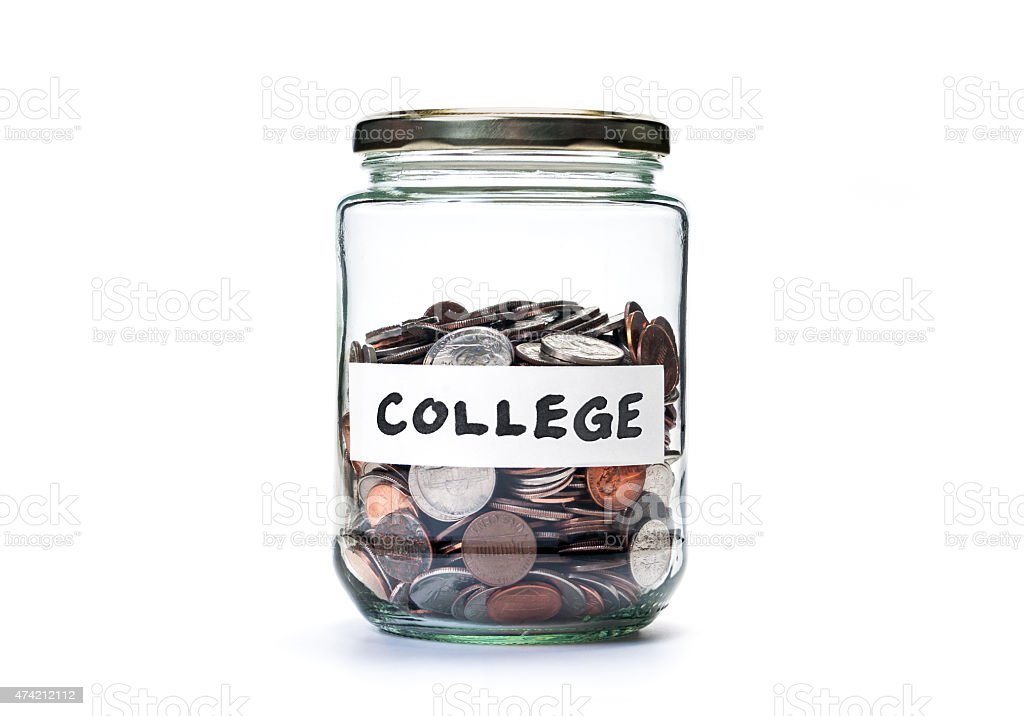 College savings coin jar stock photo