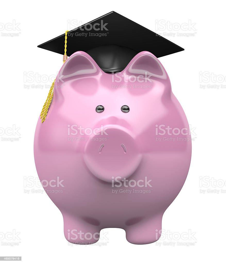 College savings fund piggy bank wearing a graduation cap stock photo