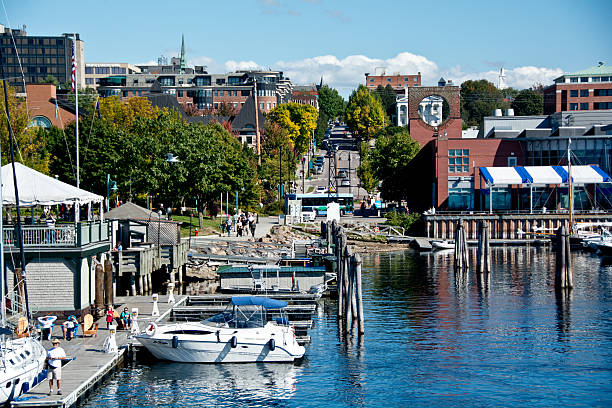 College Street from Lake Champlain in Burlington, Vermont stock photo