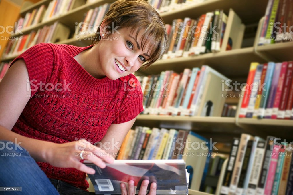 College Student at a Library royalty-free stock photo