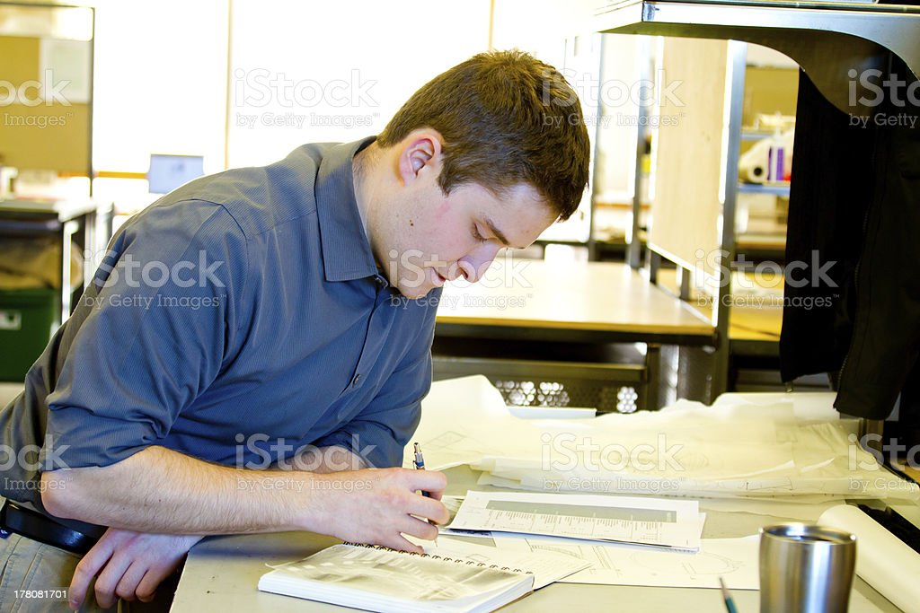 College Student Drafting Architecture royalty-free stock photo