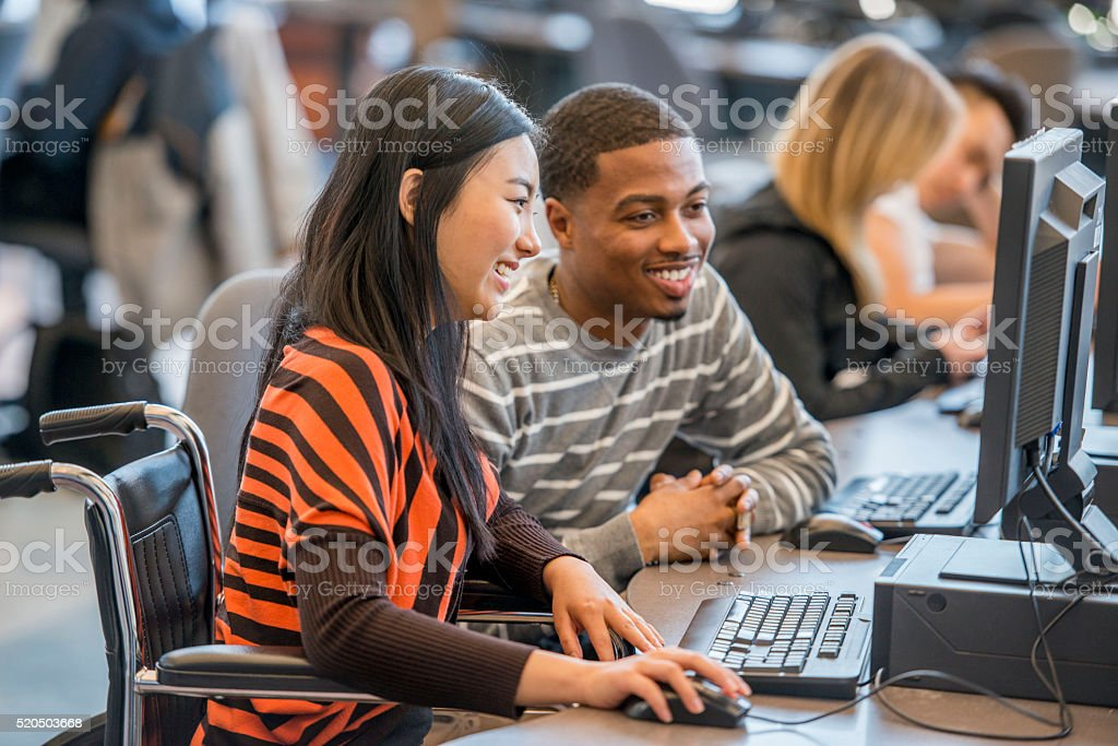 College Student in a Wheelchair stock photo