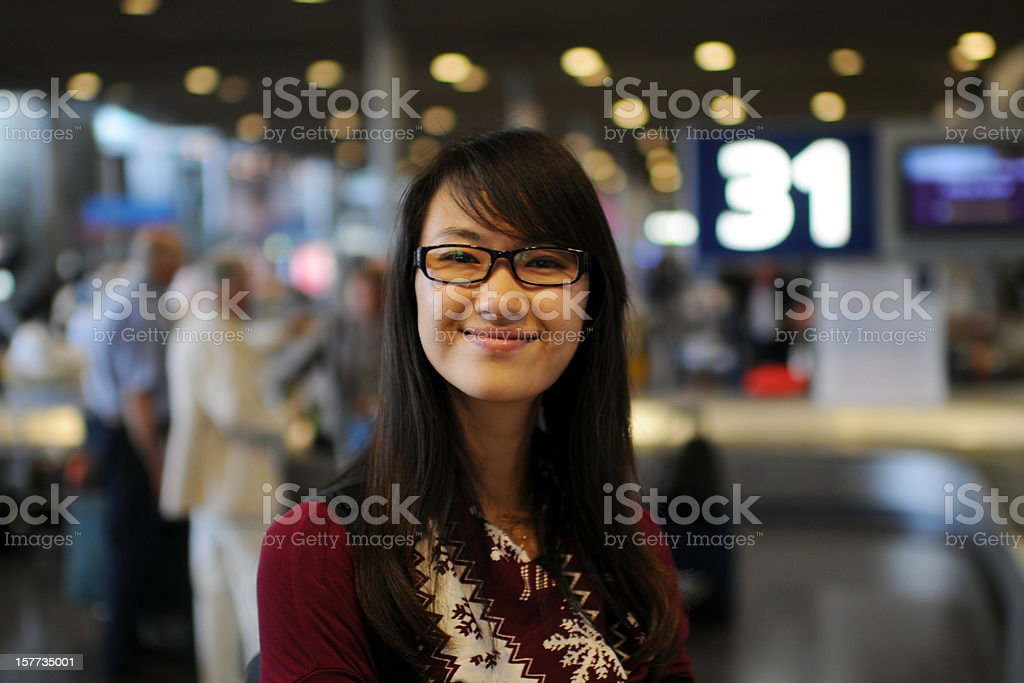 College Student In Airport stock photo