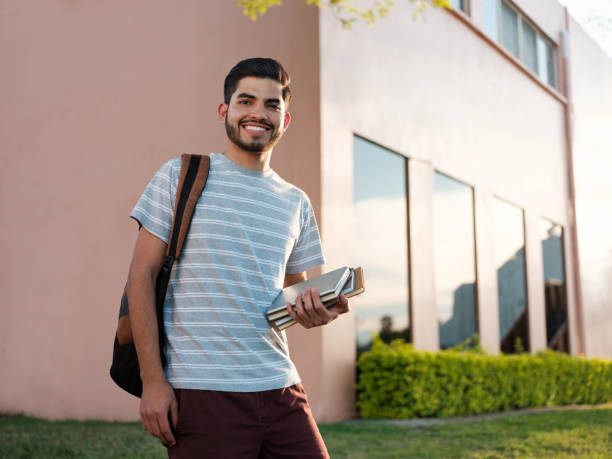 College student in casual clothing stock photo
