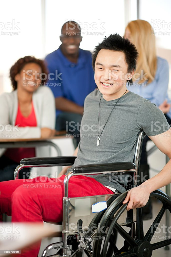 College student in wheelchair royalty-free stock photo