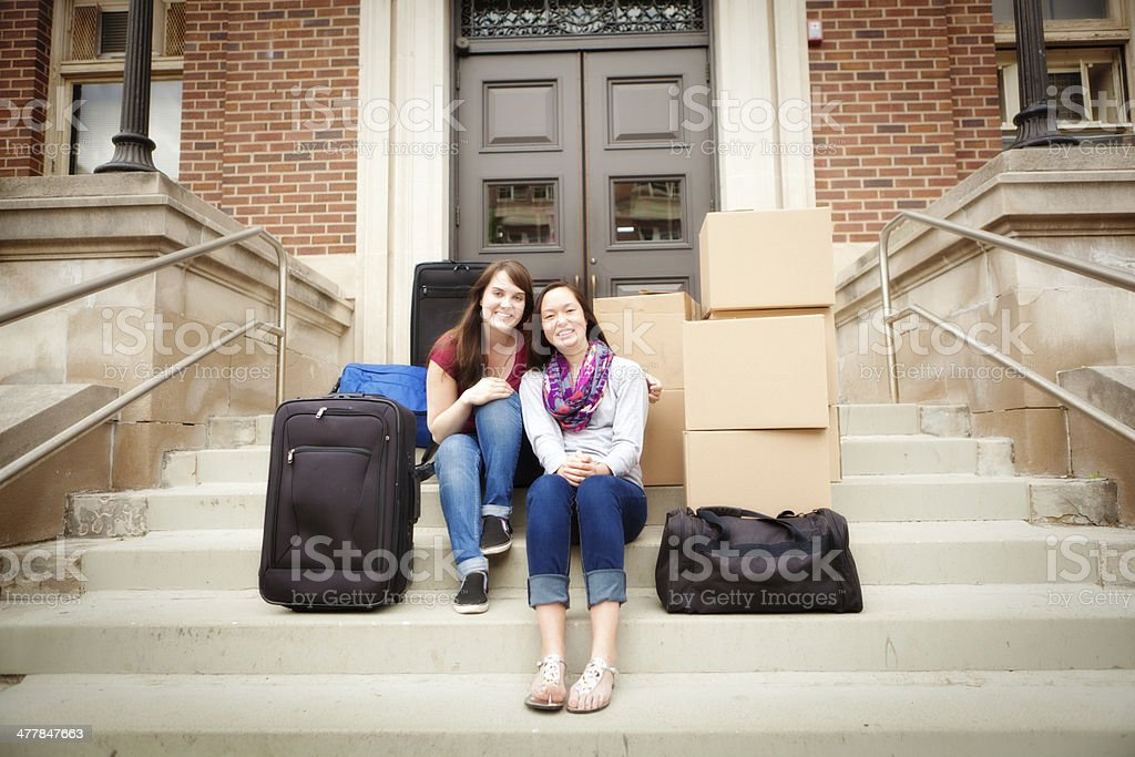 College Student Moving Dormitory in University Campus Horizontal stock photo