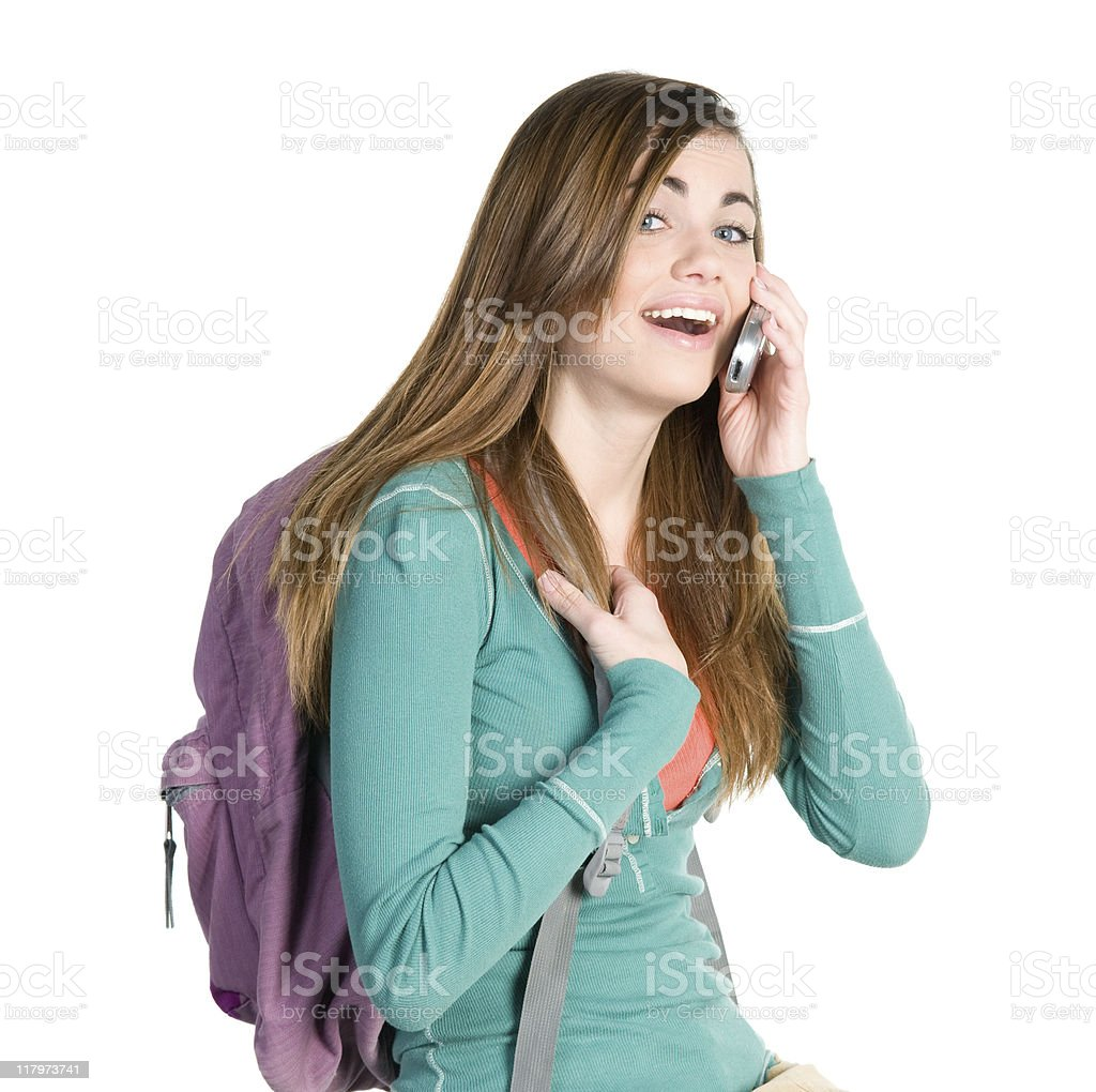 College Student on Cell Phone stock photo