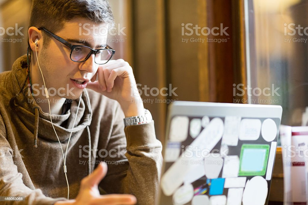 College student on laptop stock photo